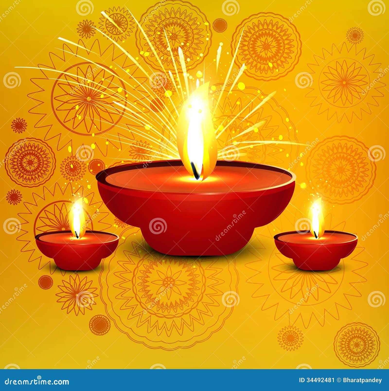 Religious diwali card beautiful diya