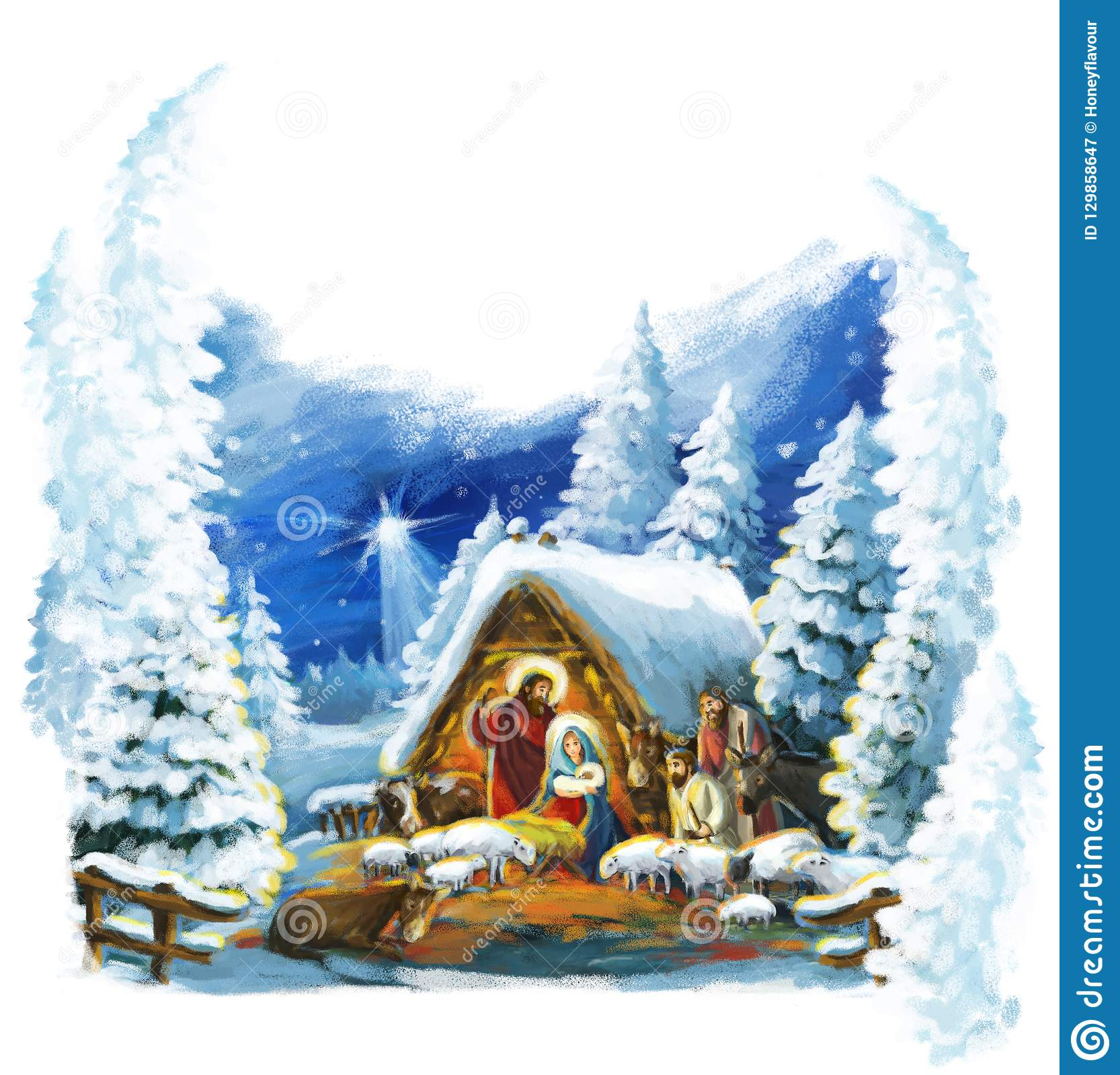 Religious Christmas Cards For Children.Religious Illustration Three Kings And Holy Family