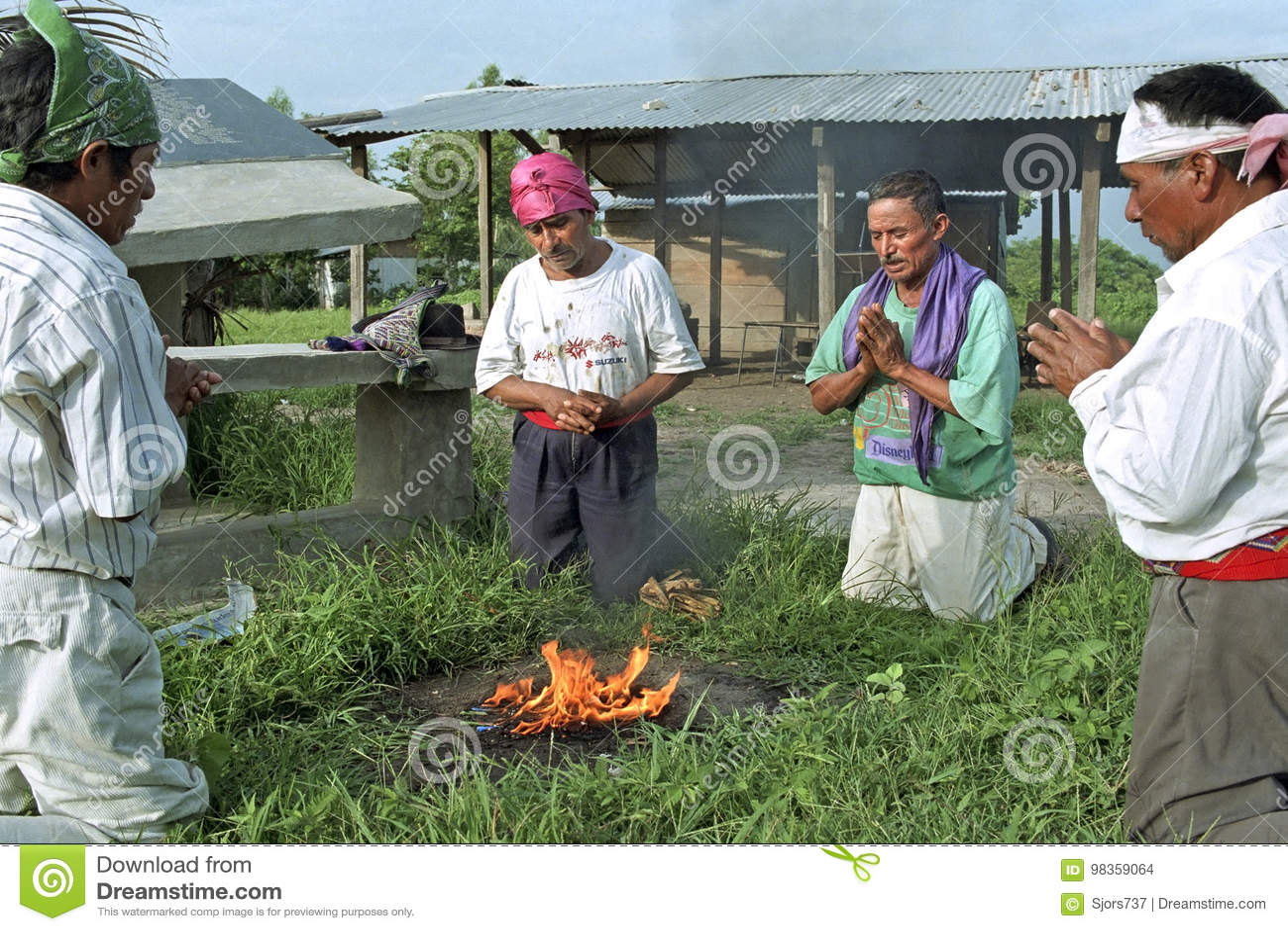 Religious ritual of Guatemalan Ixil Indian priests