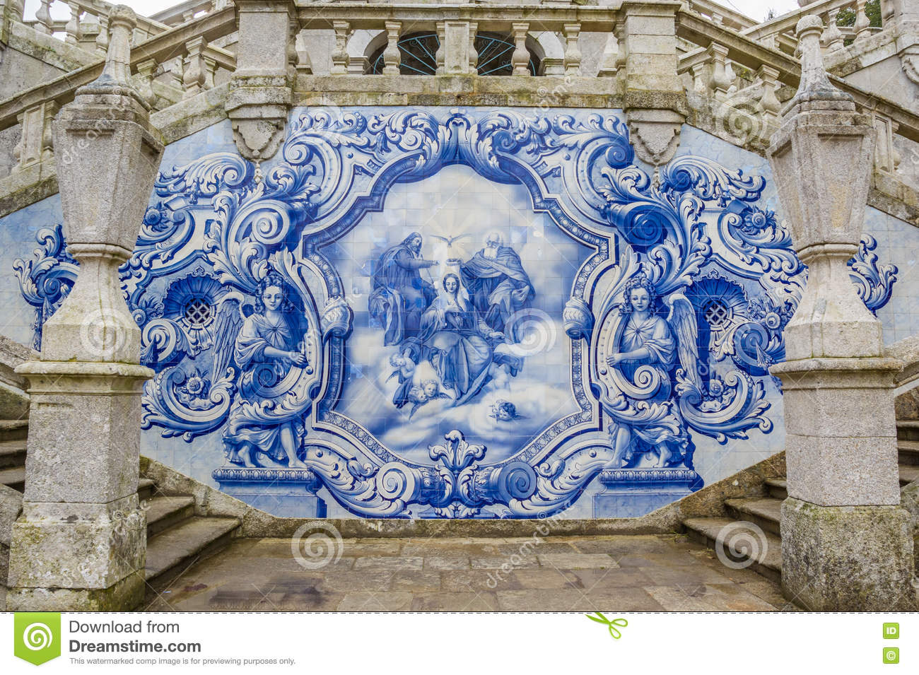 Religious scene in blue azulejos at the Remedios stairs in Lameg