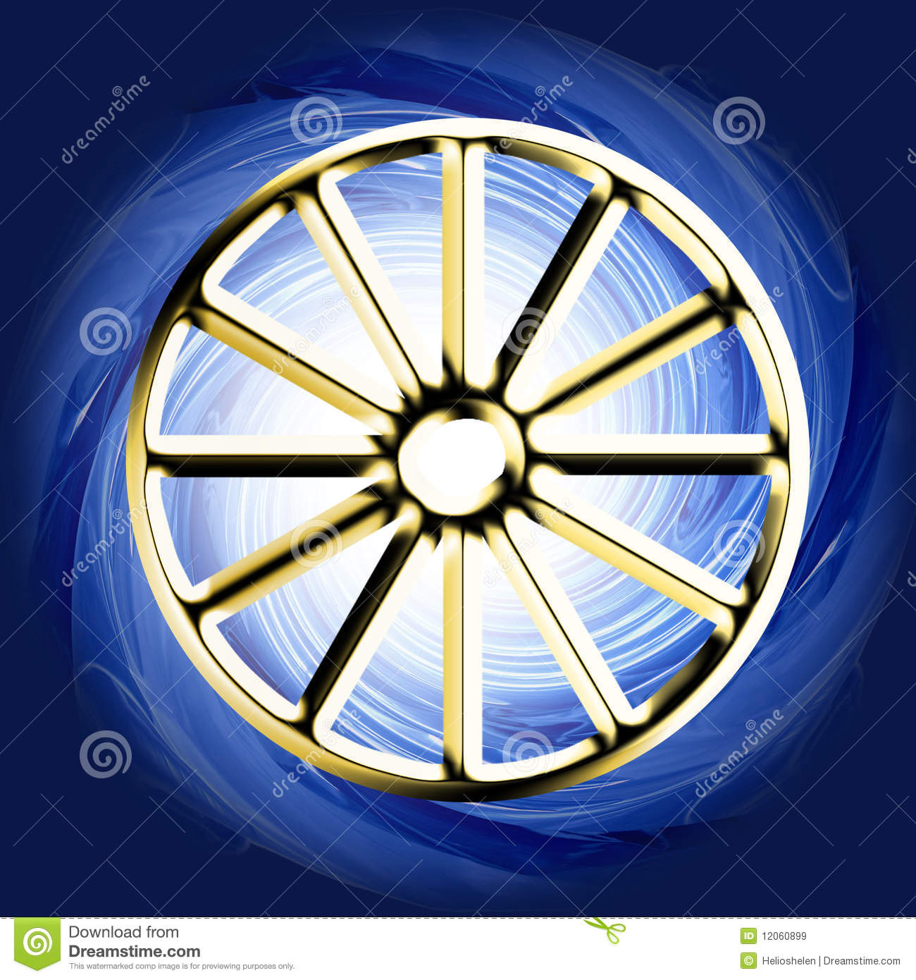 golden religious symbol - buddhist wheel stock image