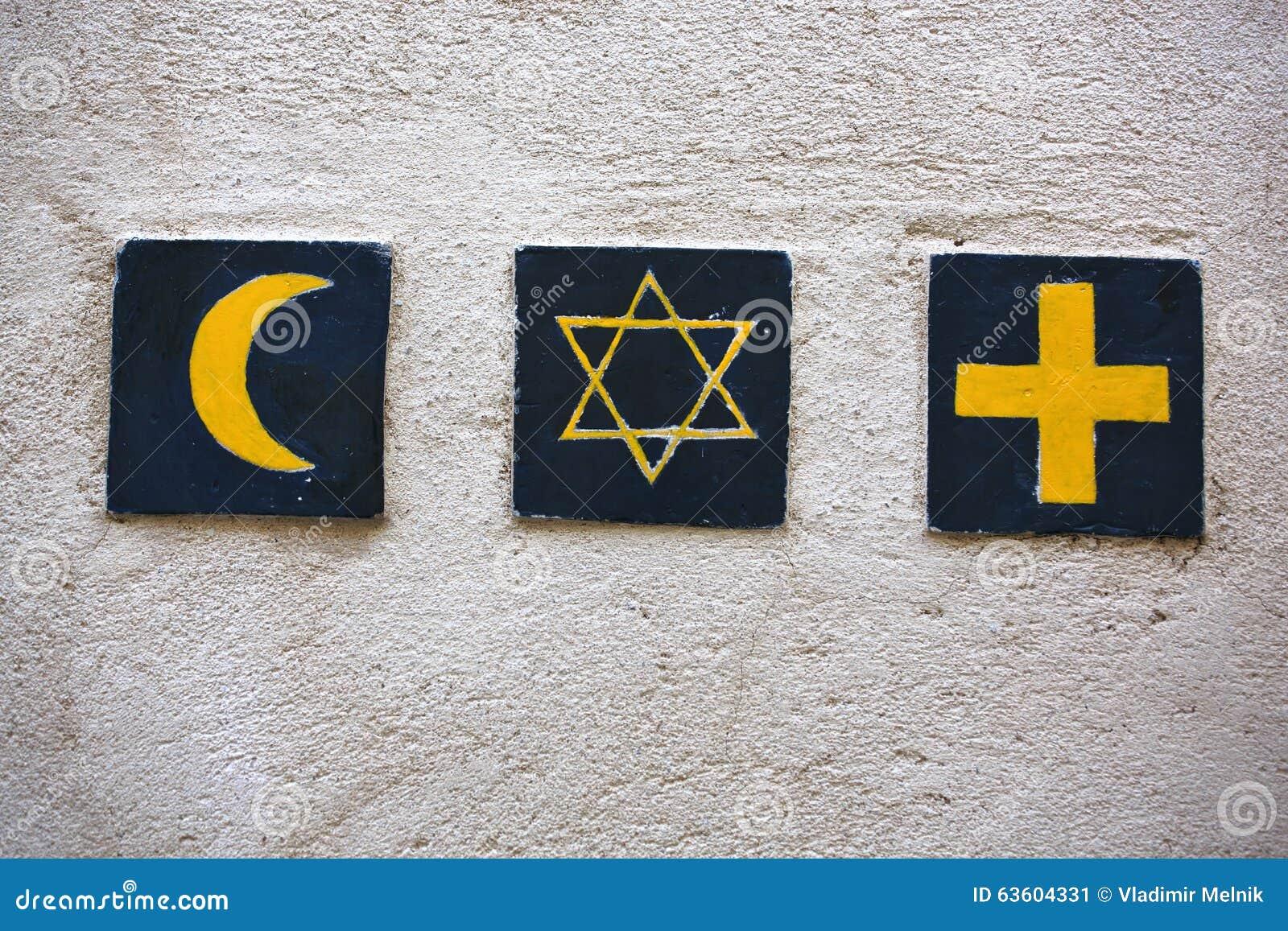 Religious symbols: islamic crescent, jewish David s star, christian cross