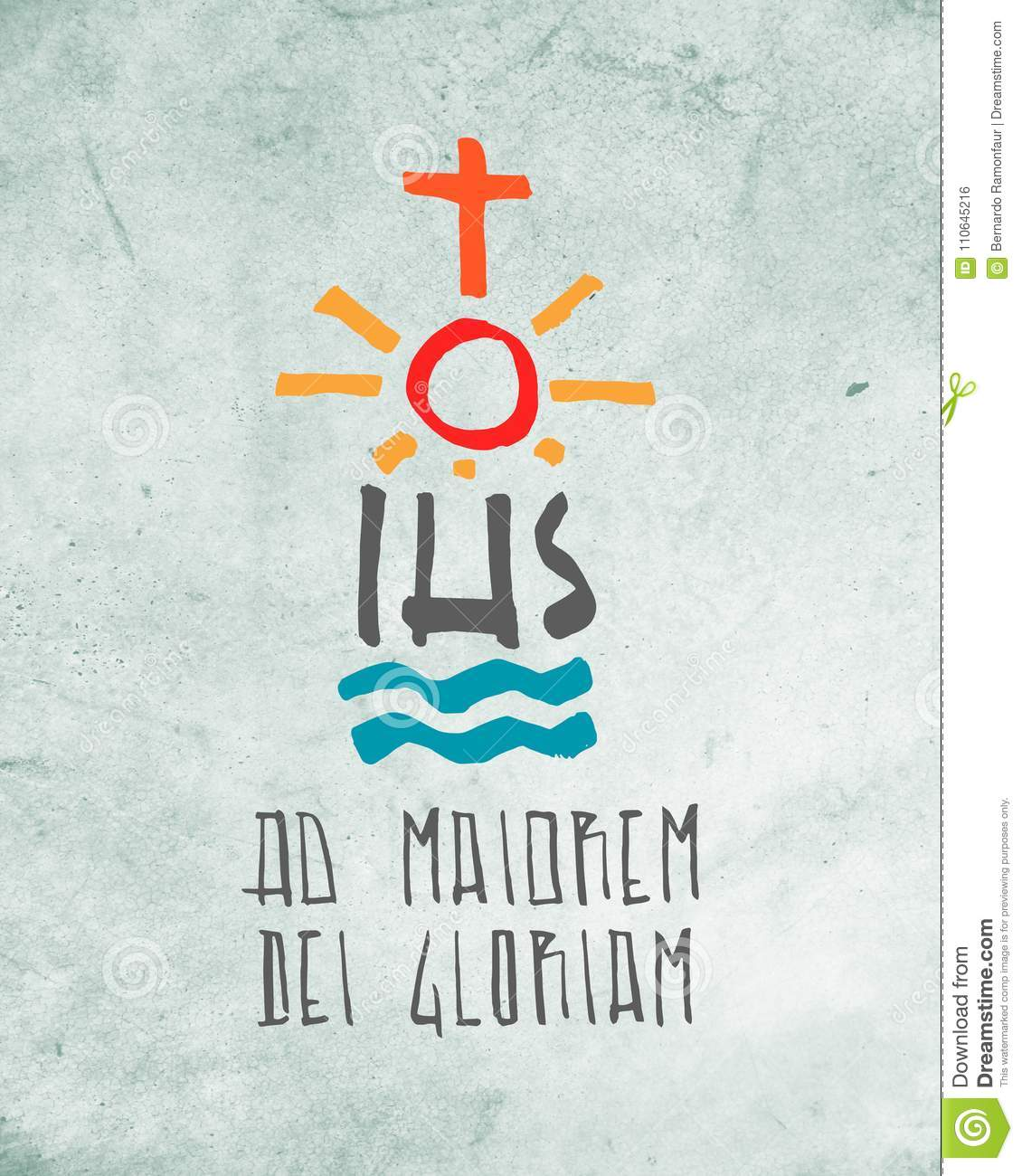 Religious Symbols And Phrase Illustration Stock Illustration