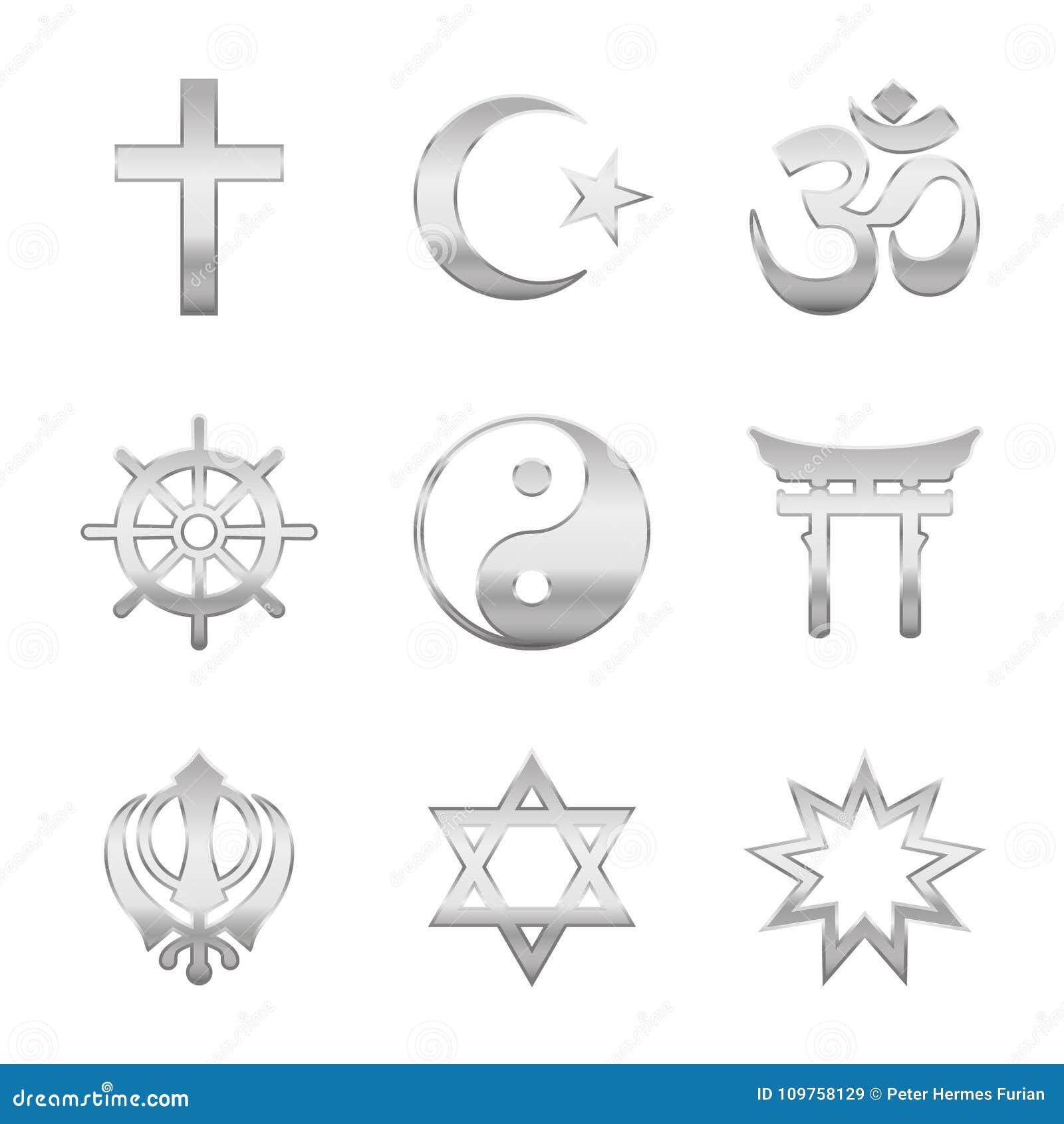Religious Symbols Silver Stock Vector Illustration Of Star 109758129