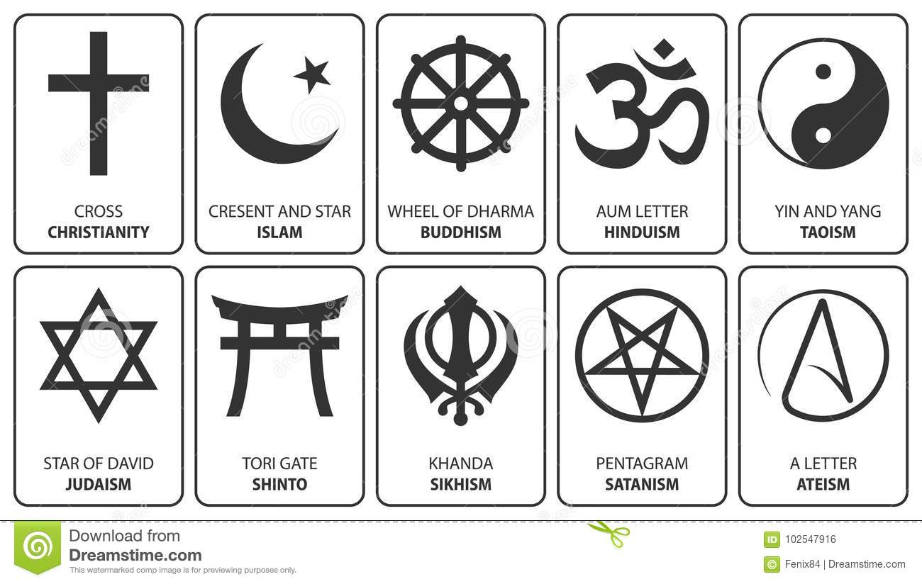 Religious Symbols Isolated On White Vector Illustrations Stock