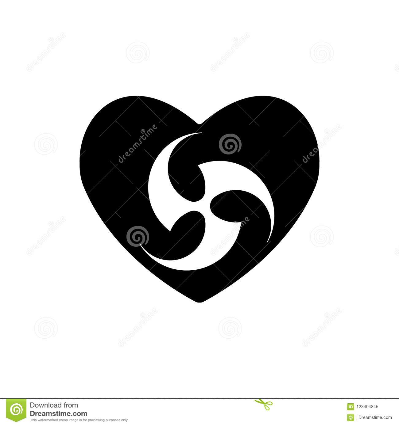 Religious Tomoe Sign In Heart Heart Black Icon Love Symbol