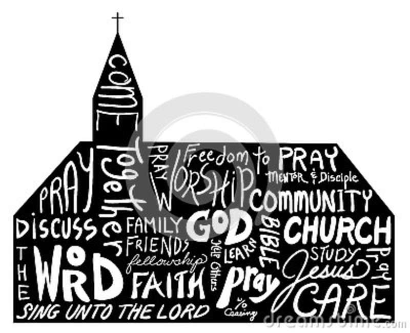Religious Word Cloud Art In Shape Of Church Church Bulletin
