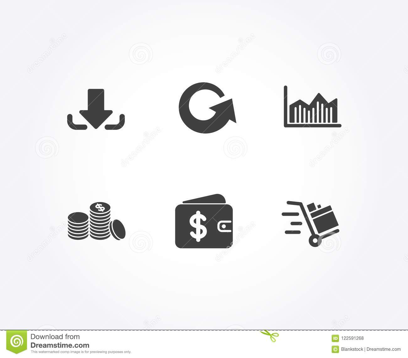 Reload download and money diagram icons banking money dollar set of reload download and money diagram icons banking money dollar wallet and push cart signs update load file currency diagram ccuart Gallery