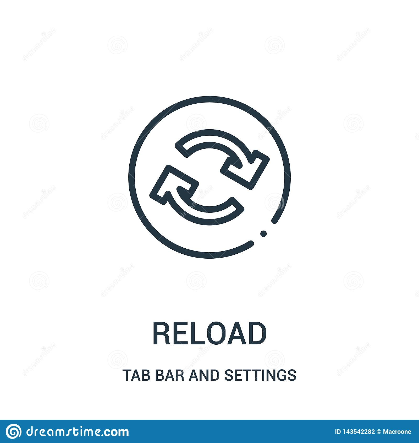reload icon vector from tab bar and settings collection. Thin line reload outline icon vector illustration