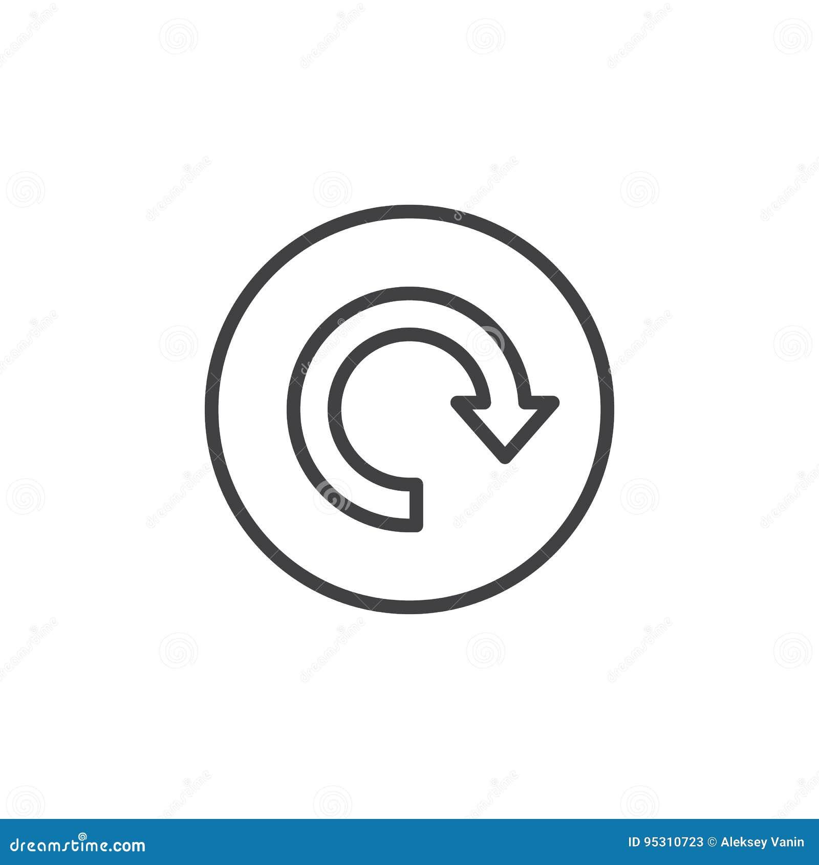 Reload, seta em torno da linha circular ícone Sinal simples redondo