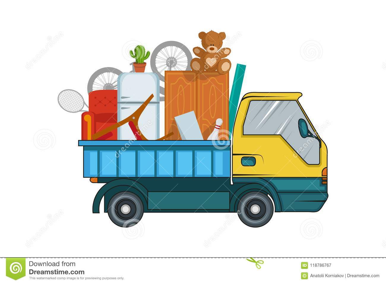 Relocation service. Moving concept. Cargo Truck is transporting. Delivery freight truck illustration. Transport company