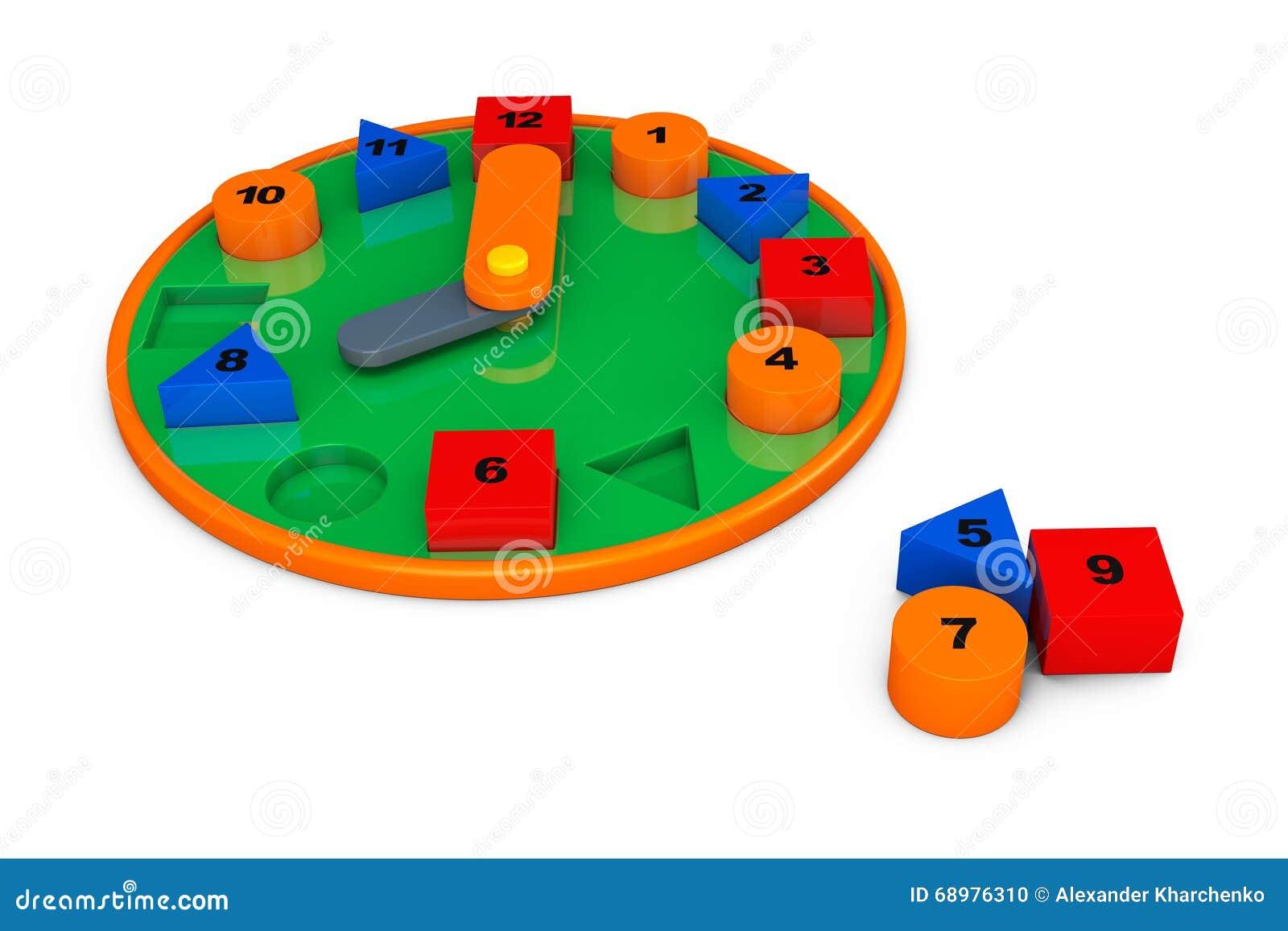 Reloj colorido del juguete representación 3d