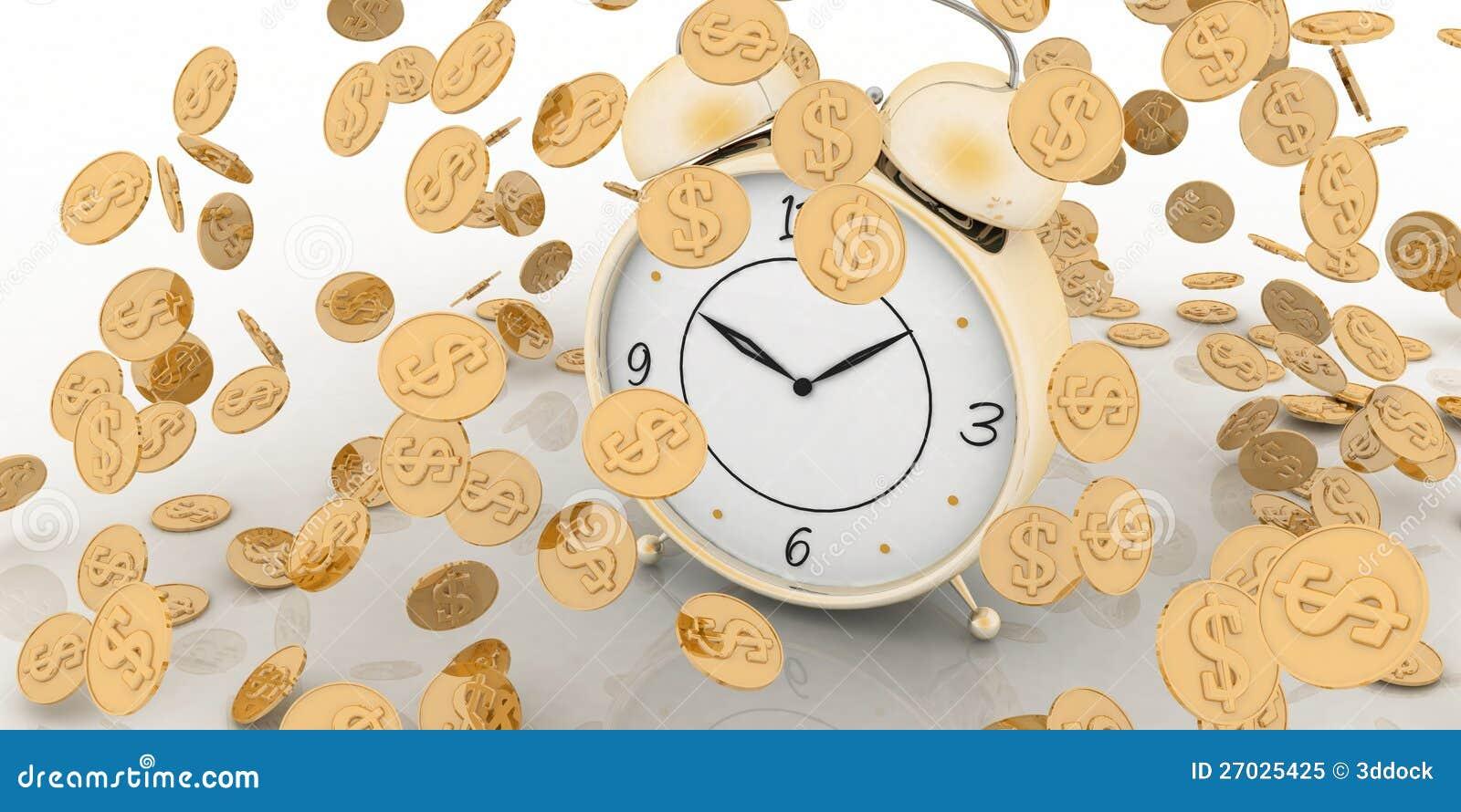 Reloj de alarma y dinero en blanco