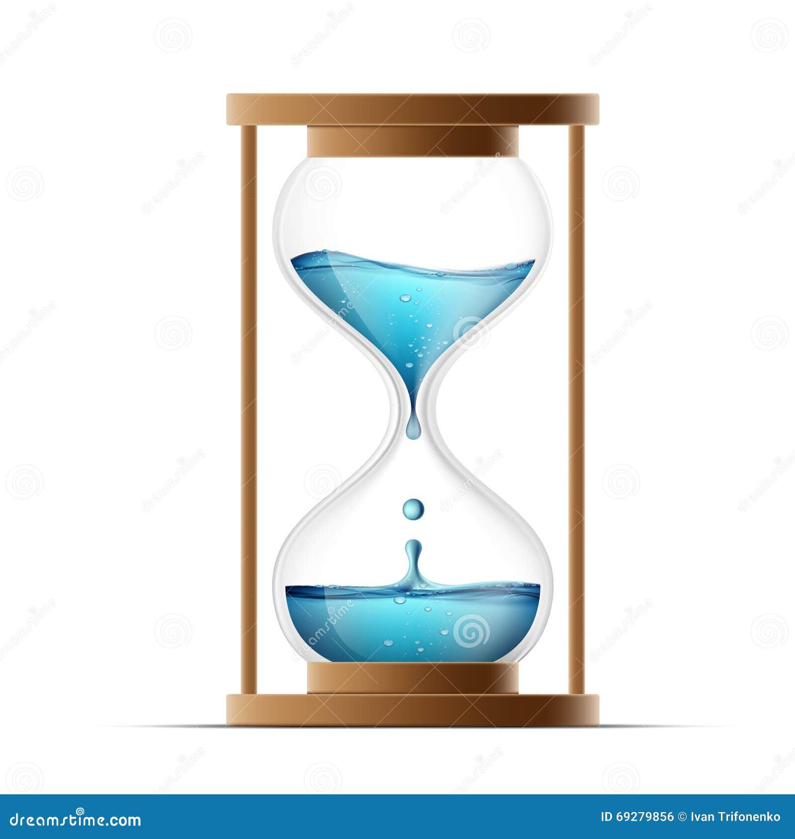 Reloj de arena con agua Riegue los goteos en el reloj countdown ISO