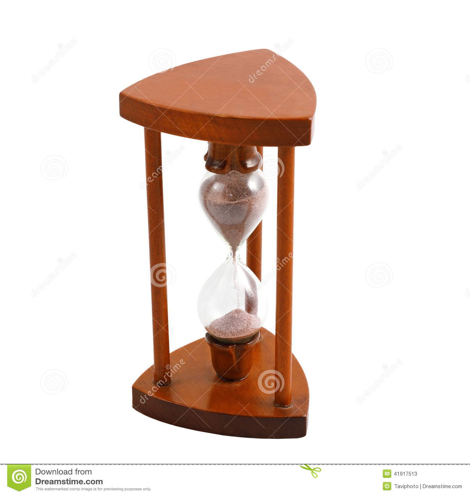 Reloj de arena de madera antiguo sobre blanco