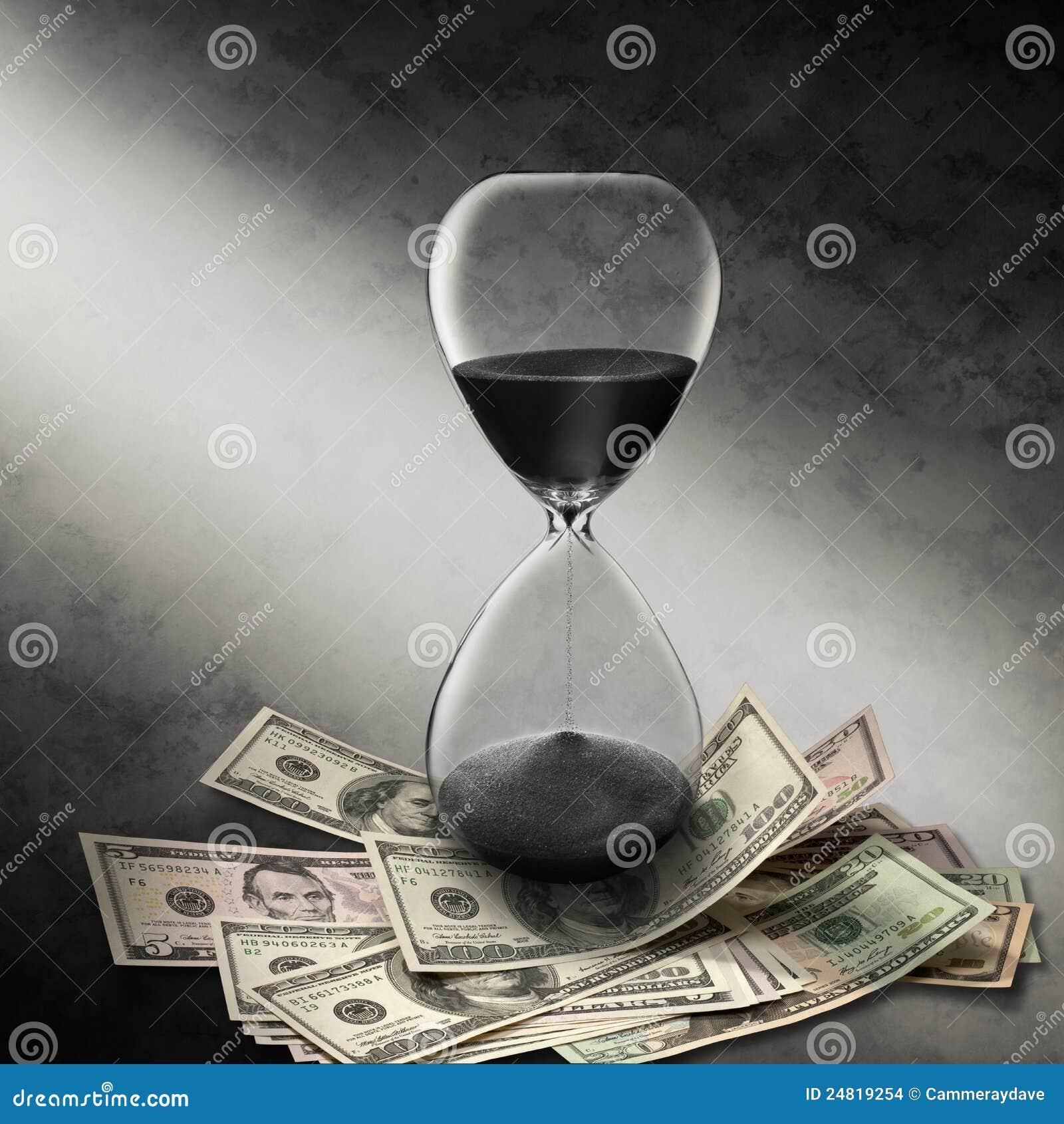 Reloj de arena del dinero del tiempo del asunto