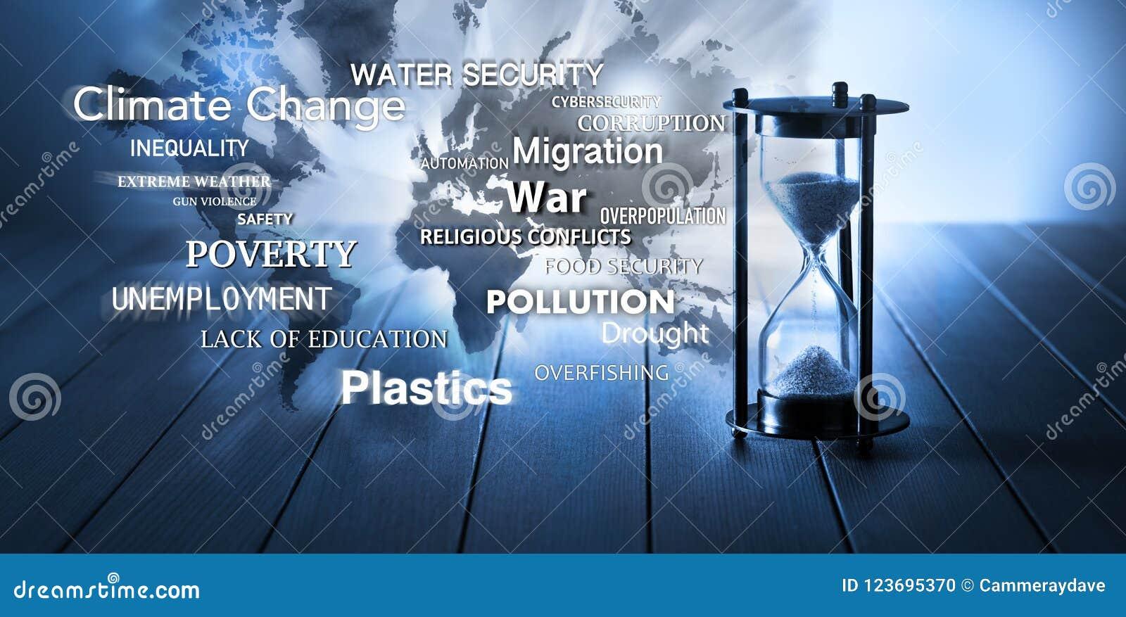 Reloj de arena global del tiempo de los problemas de los problemas del mundo