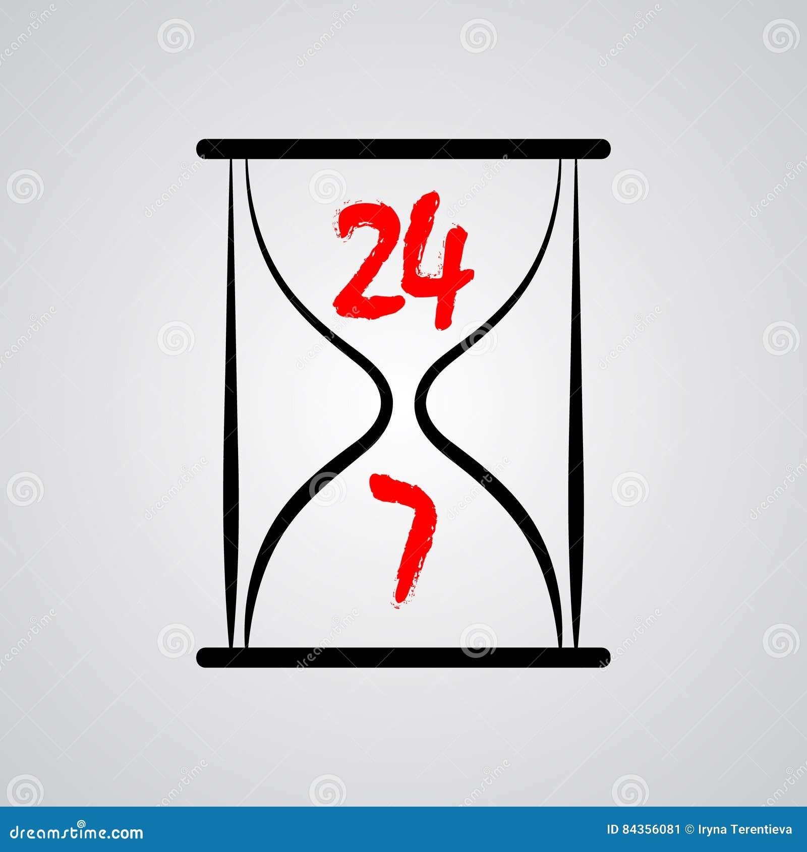 Reloj de arena veinticuatro horas por día 7 días a la semana