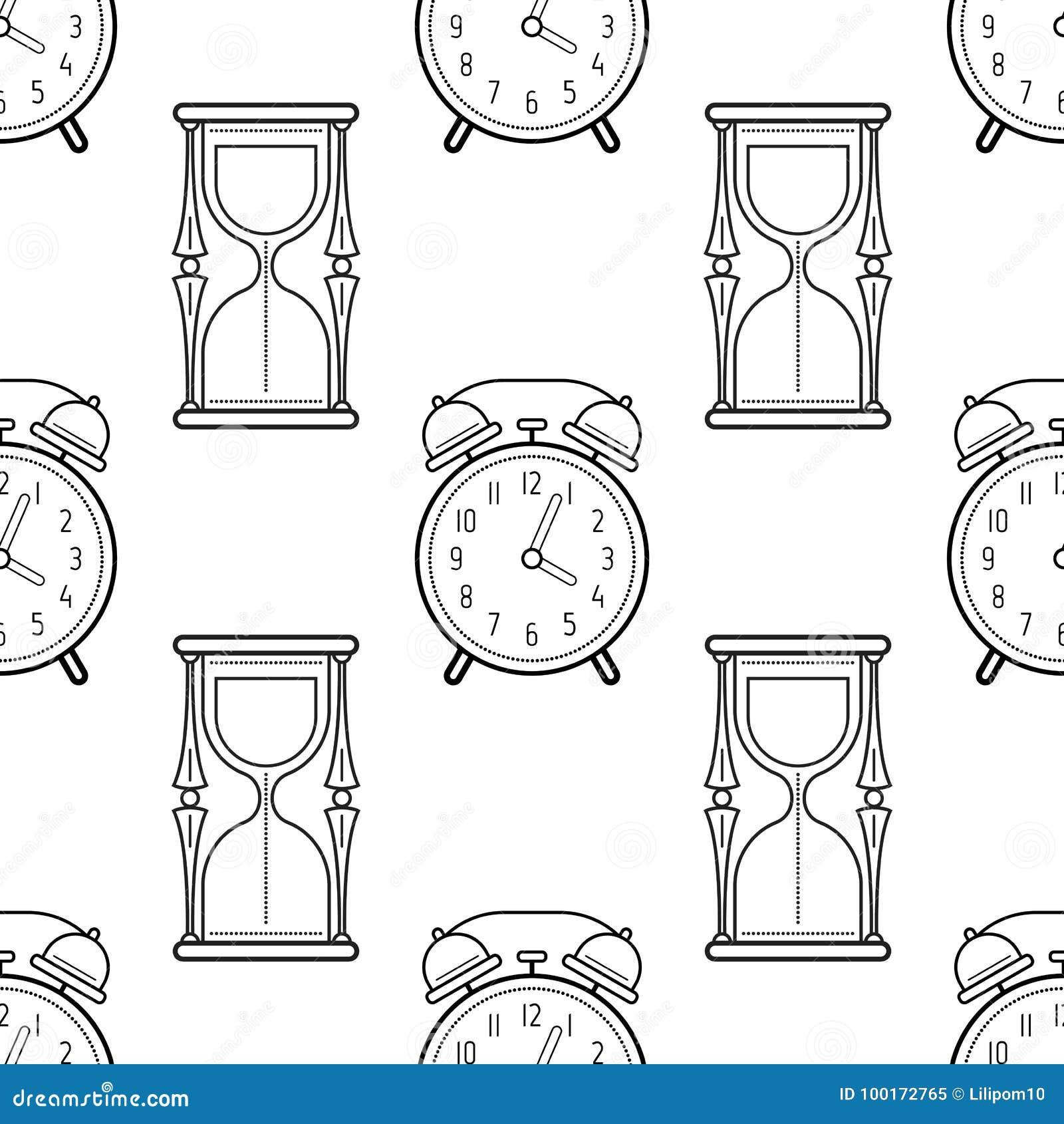 Reloj De Arena Y Despertador Modelo Inconsútil Blanco Y Negro Para