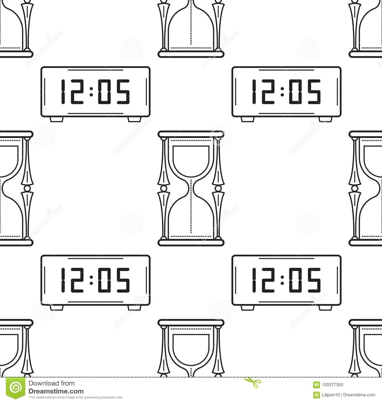 Reloj De Arena Y Reloj Electrónico Modelo Inconsútil Blanco Y Negro