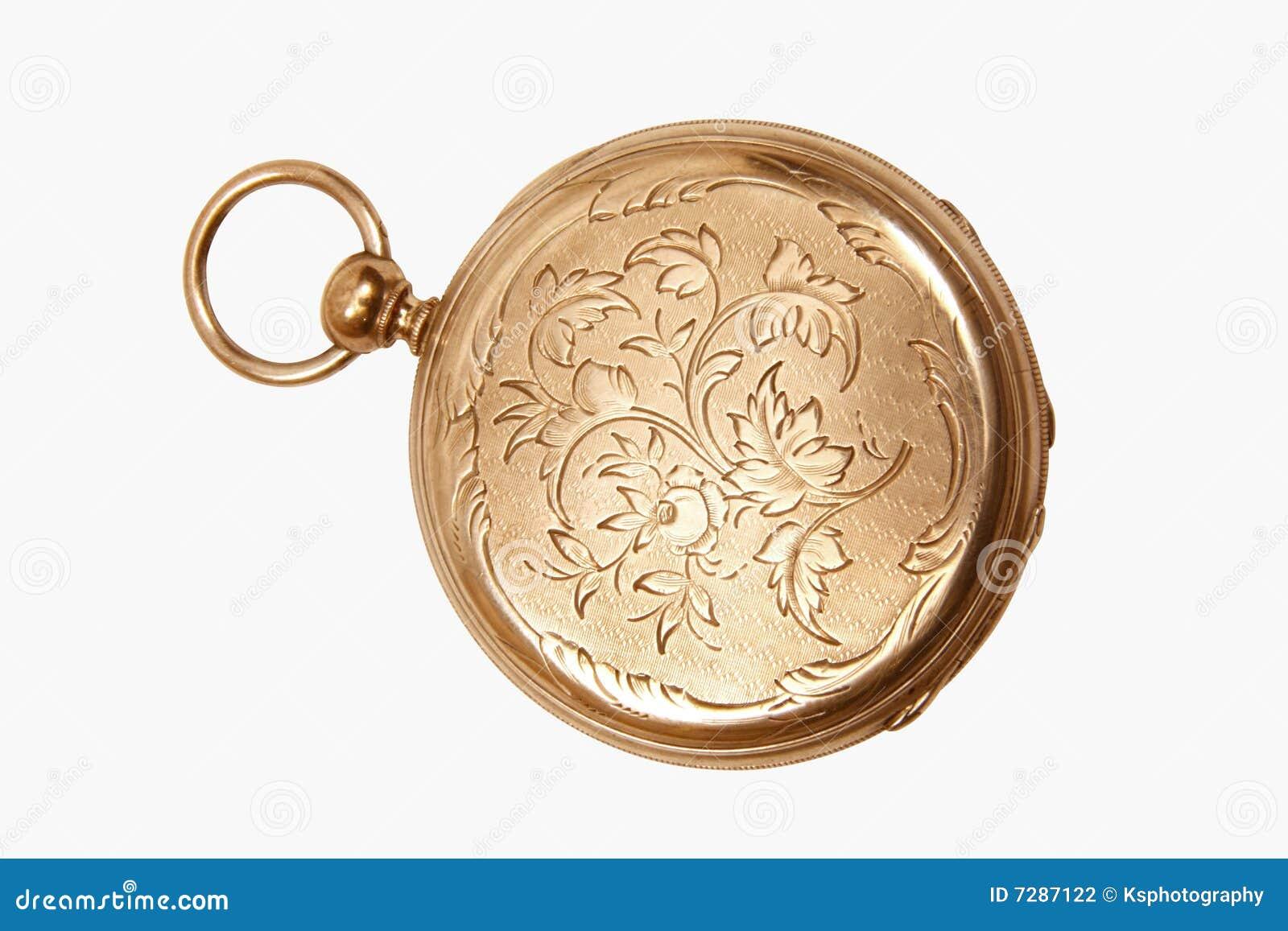 Reloj de bolsillo antiguo grabado
