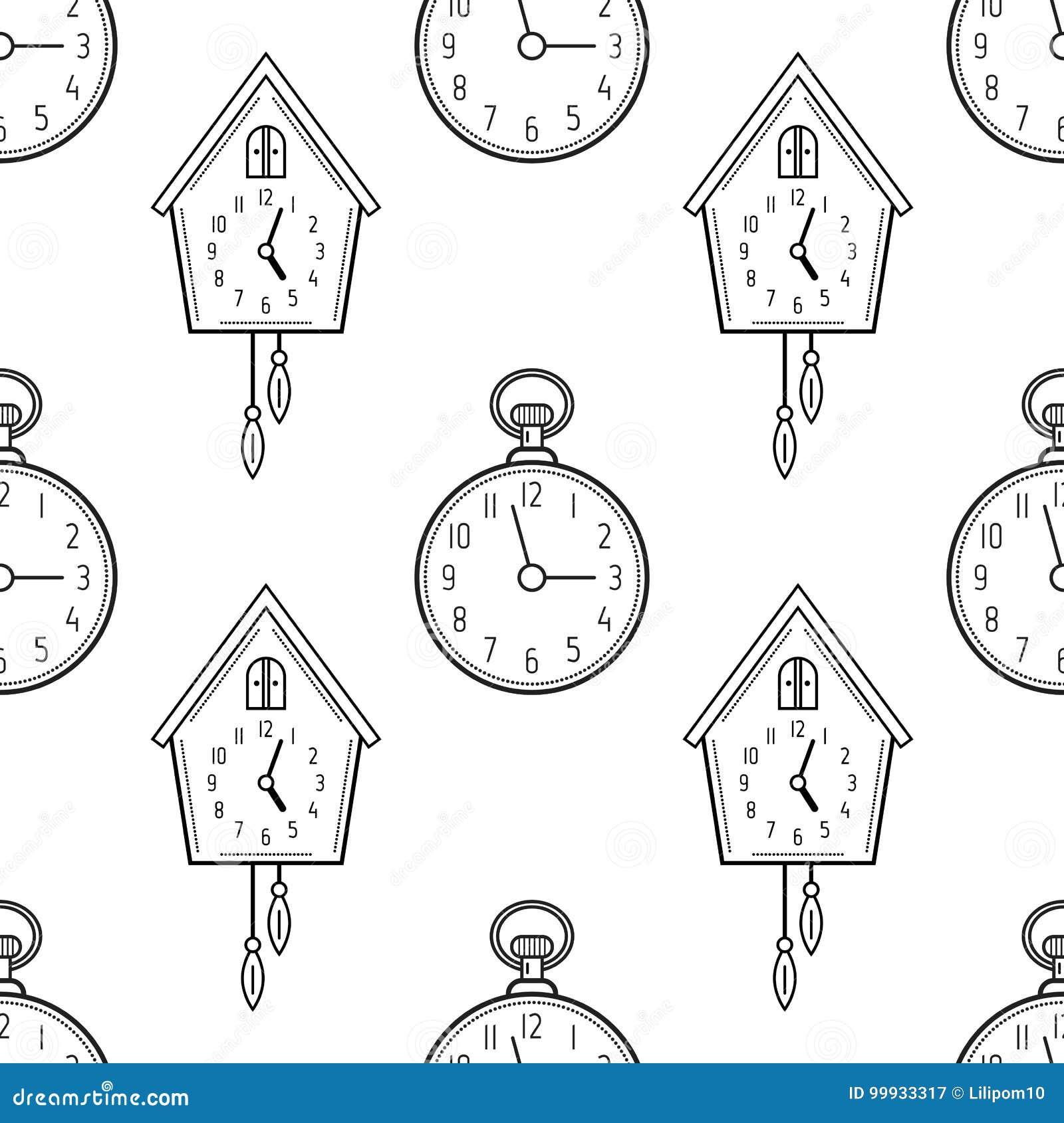 Reloj De Bolsillo Y Reloj De Cuco Modelo Inconsútil Blanco Y Negro