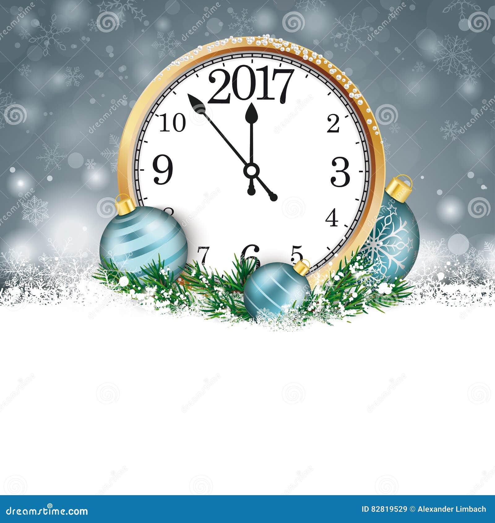 Reloj 2017 de Gray Christmas Snowflakes Cyan Baubles