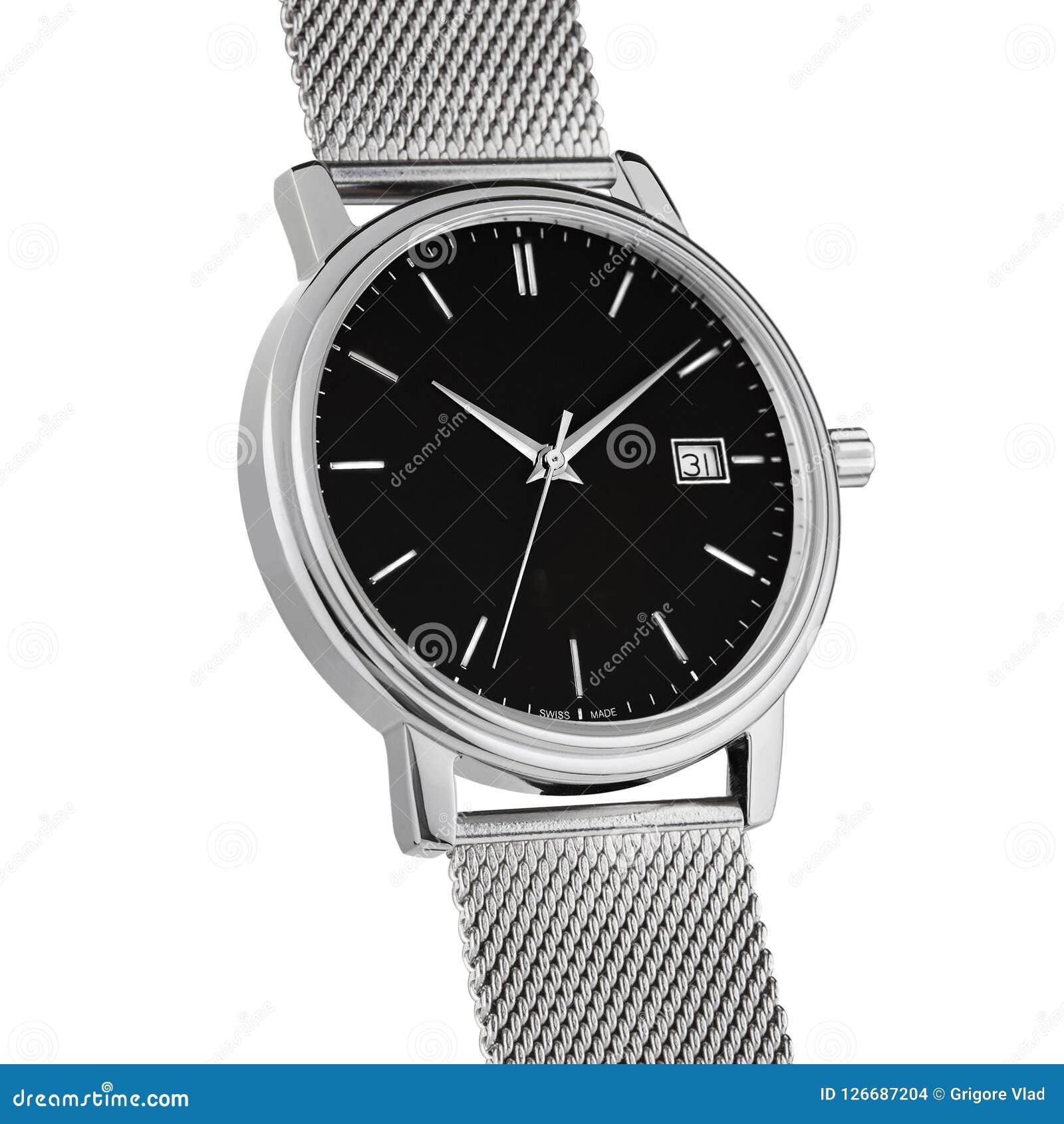 Reloj de la mano en un fondo blanco