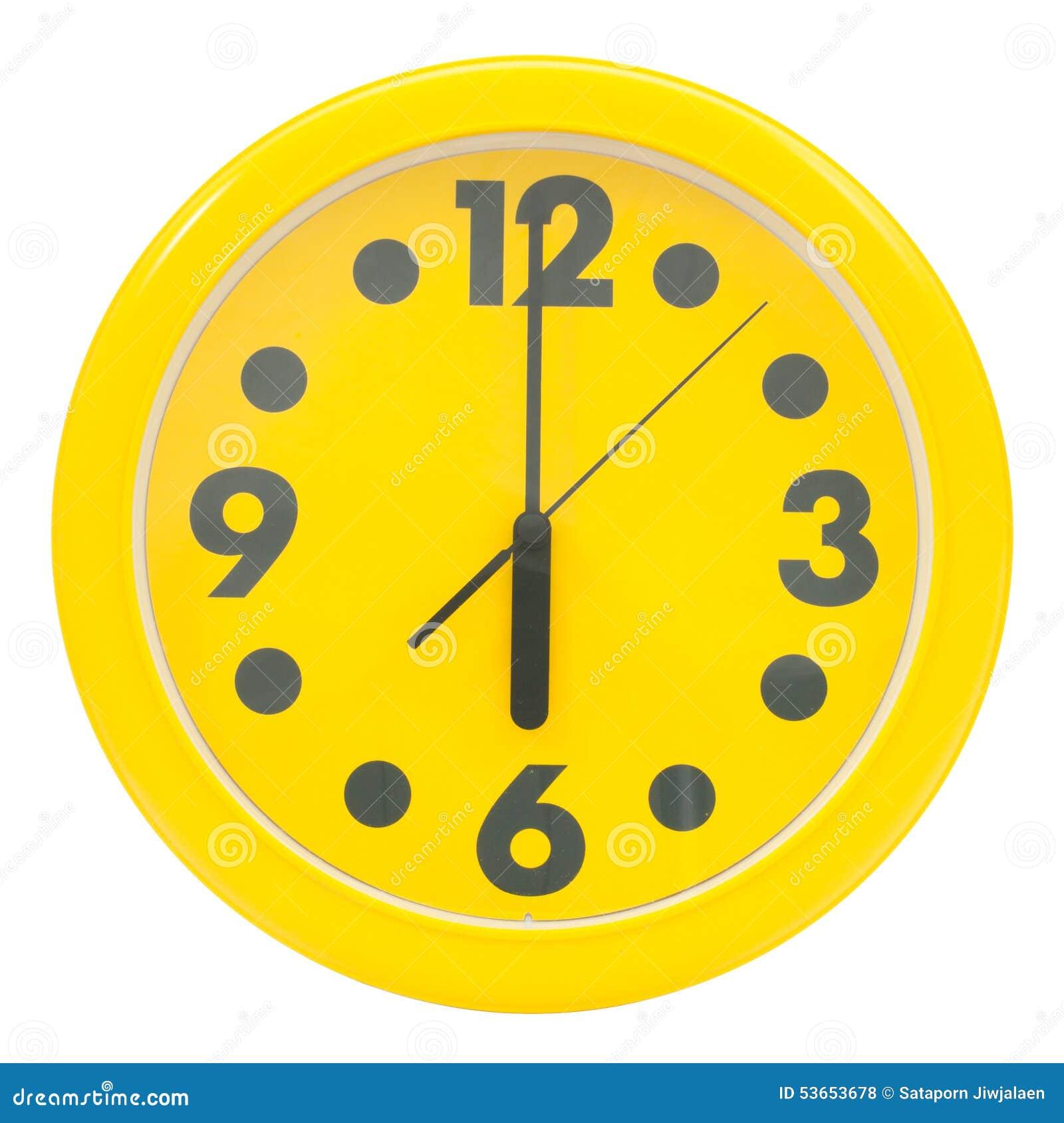 Reloj de pared amarillo foto de archivo imagen 53653678 - Mecanismo para reloj de pared ...