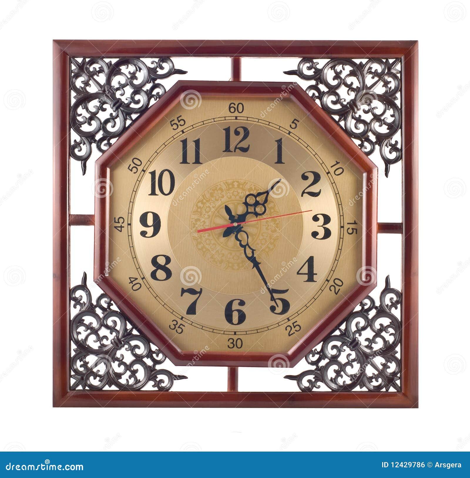 Reloj De Pared Antiguo Con El Marco De Madera Tallado Foto de ...