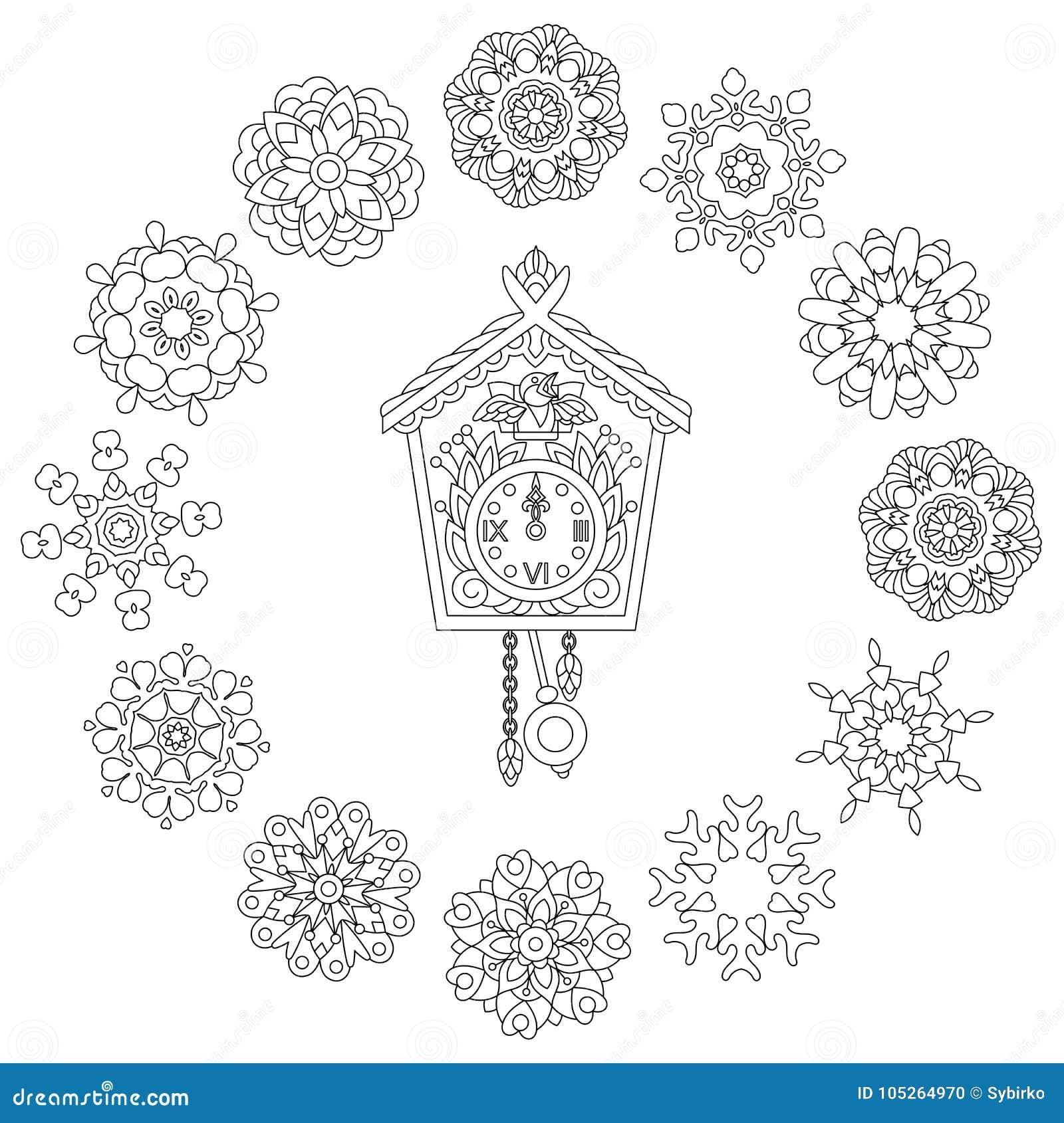 Reloj De Pared De Zentangle Y Copos De Nieve De La Navidad