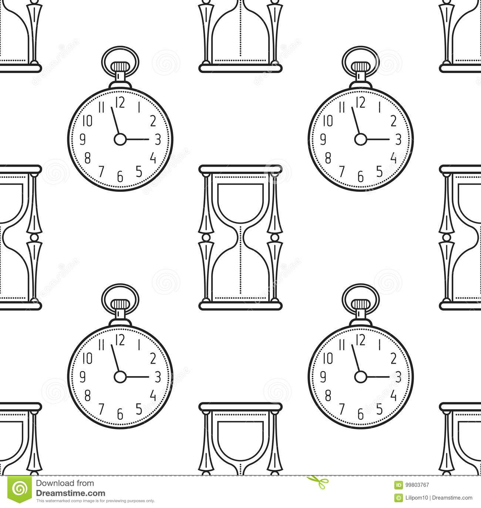Reloj Del Reloj De Arena Y De Bolsillo Modelo Inconsútil Blanco Y
