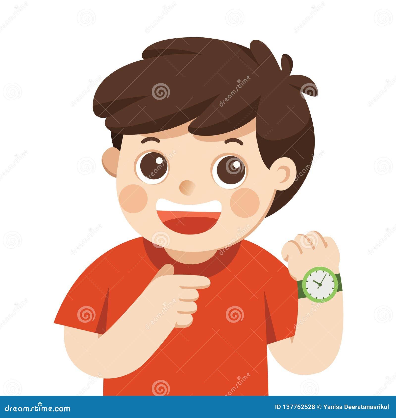 Reloj feliz de la demostración del muchacho Muestra una época Niño pequeño que señala en su presentación del reloj