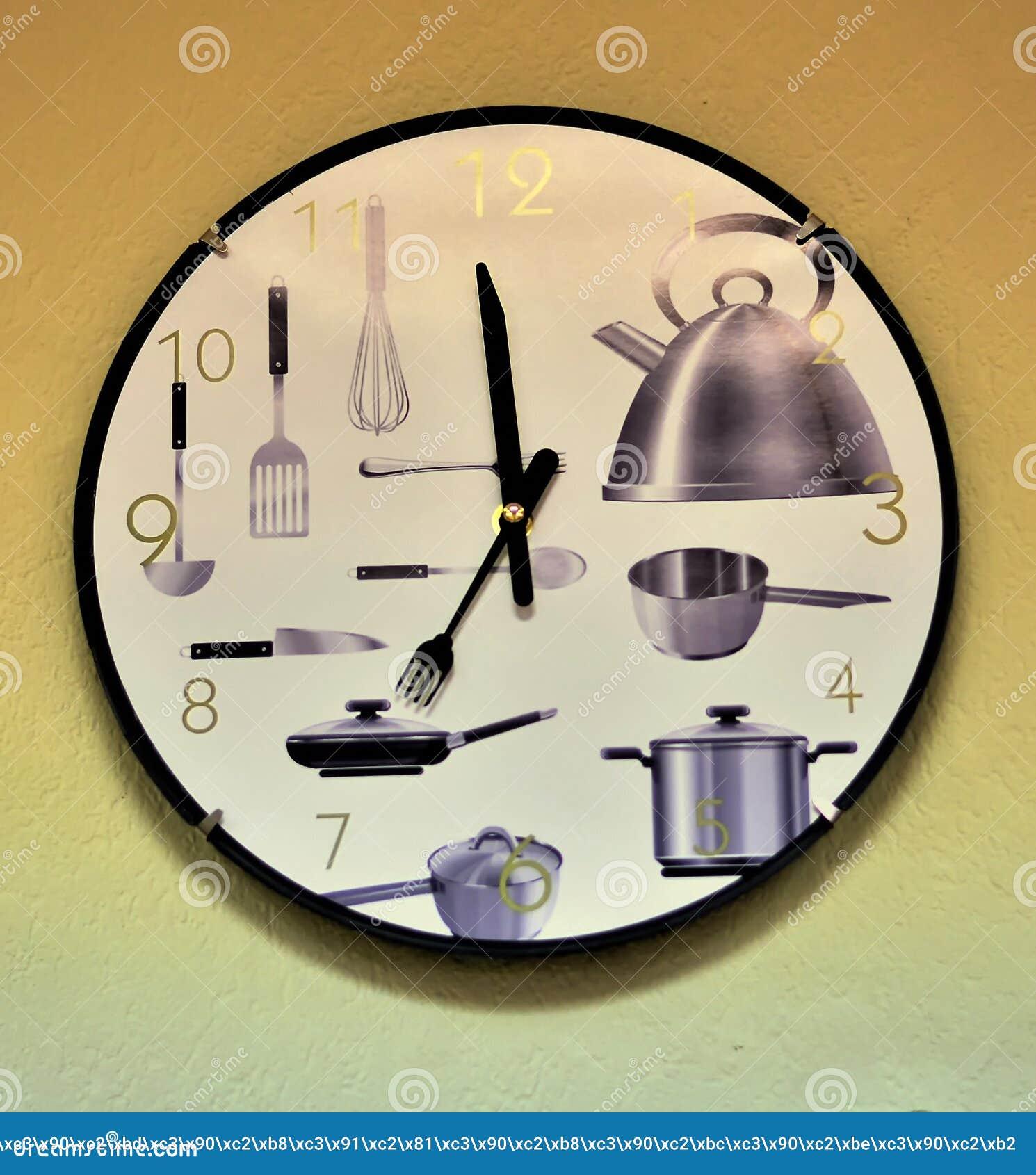 Reloj montado en la pared de la cocina