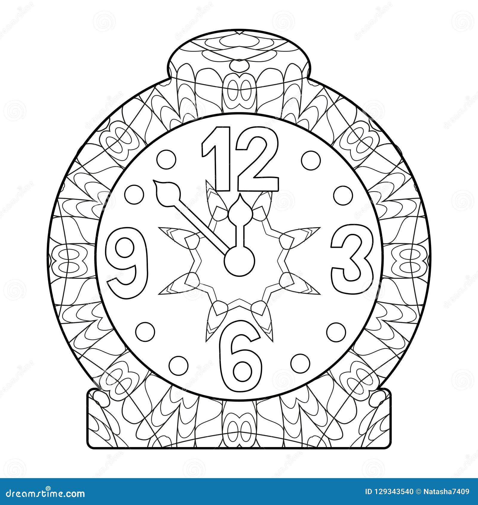 Reloj Para La Página Que Colorea O Decoración Para Los Niños
