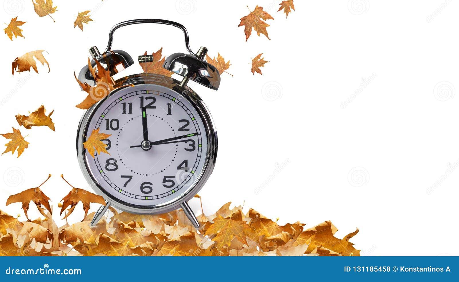 Reloj y hojas de tiempo del otoño aislados para el fondo