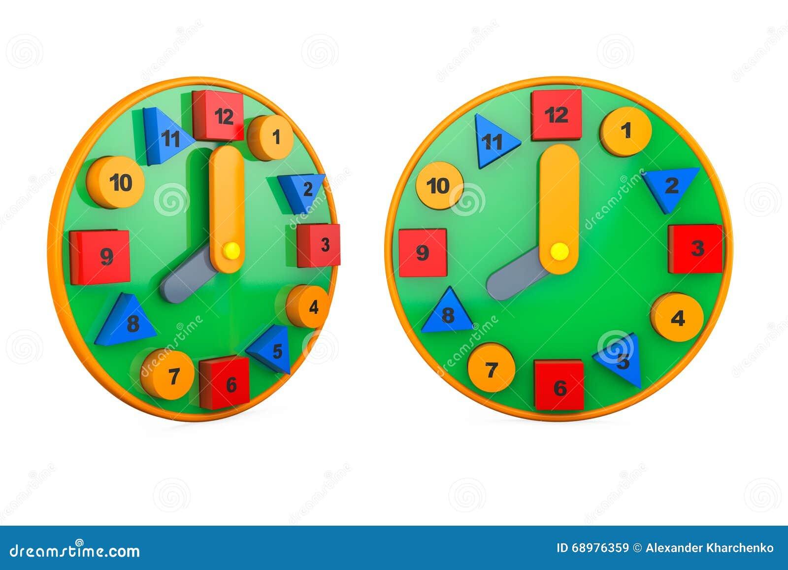 Relojes coloridos del juguete representación 3d