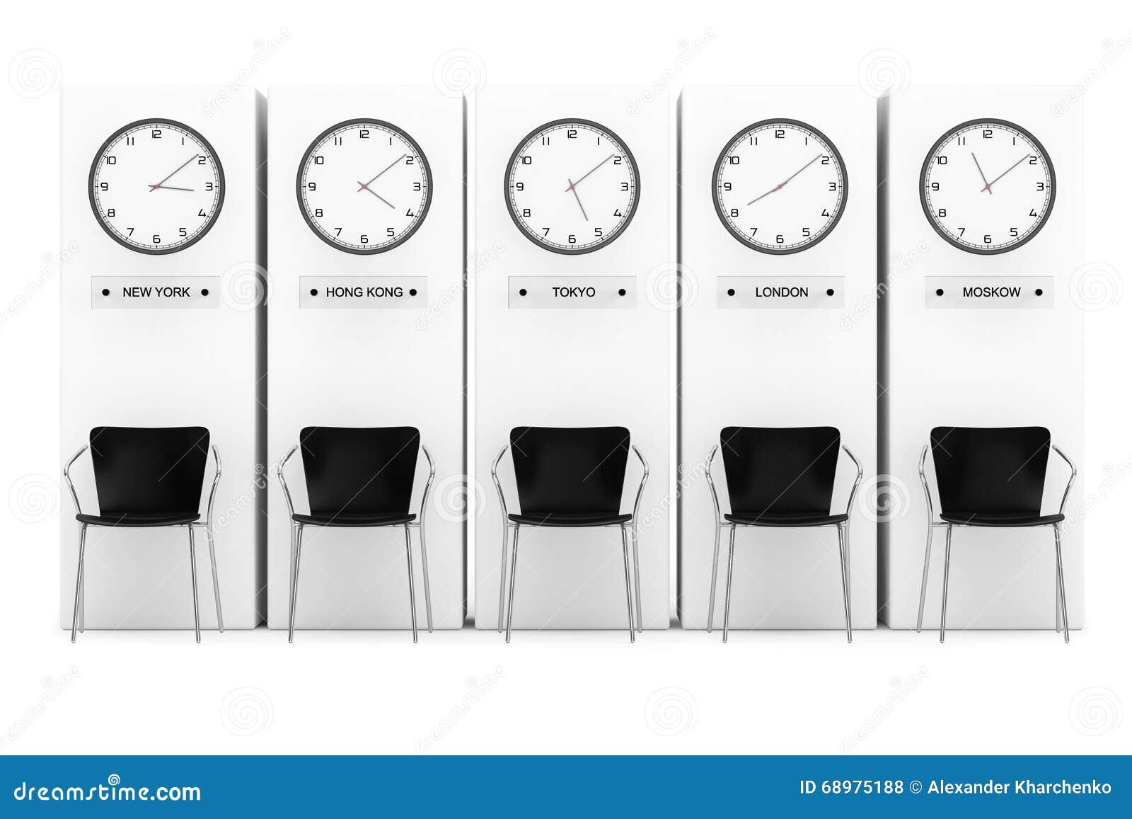 Relojes de la zona horaria que muestran momento diferente