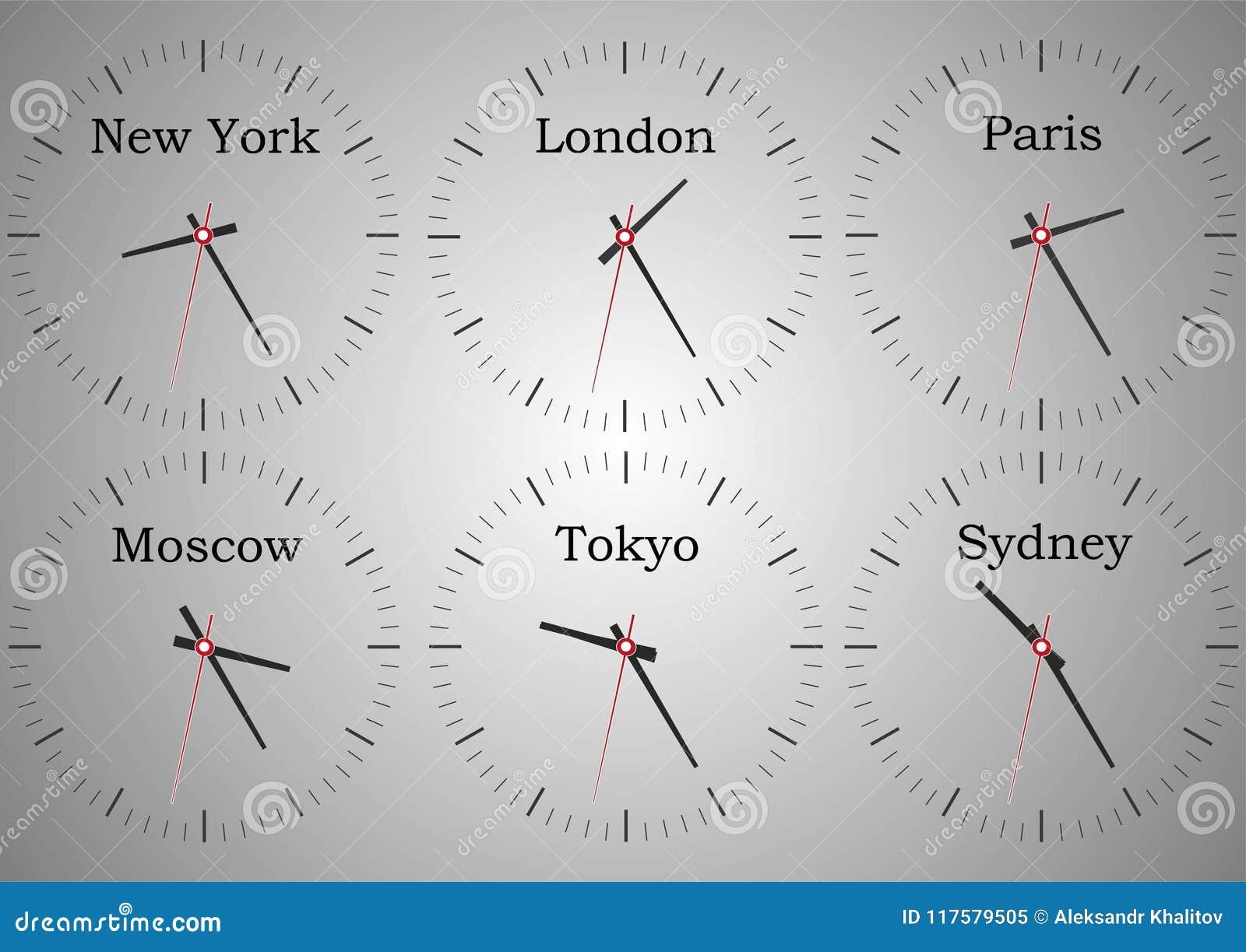 Relojes de pared de la recepción del hotel que muestra la época del mundo