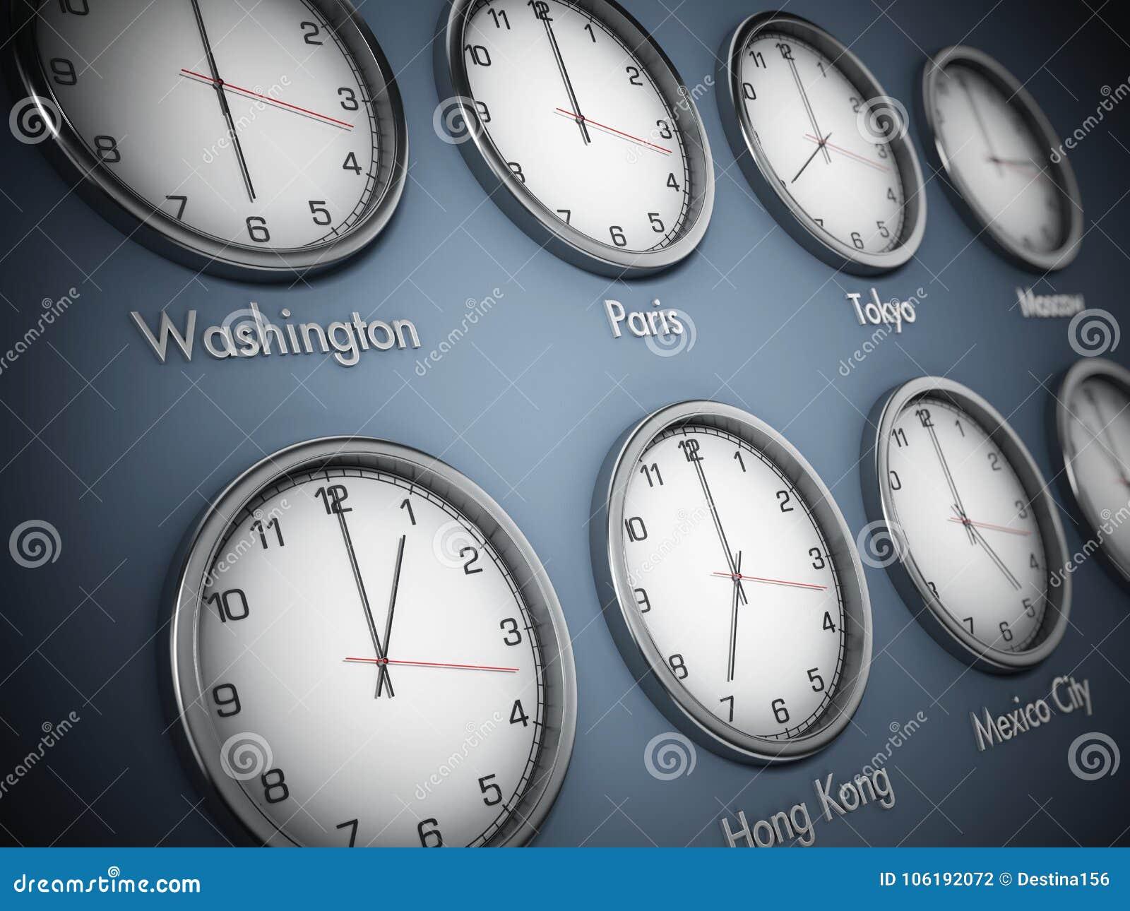 Relojes de pared modernos que muestran zonas de momento diferente de las ciudades del mundo ilustración 3D