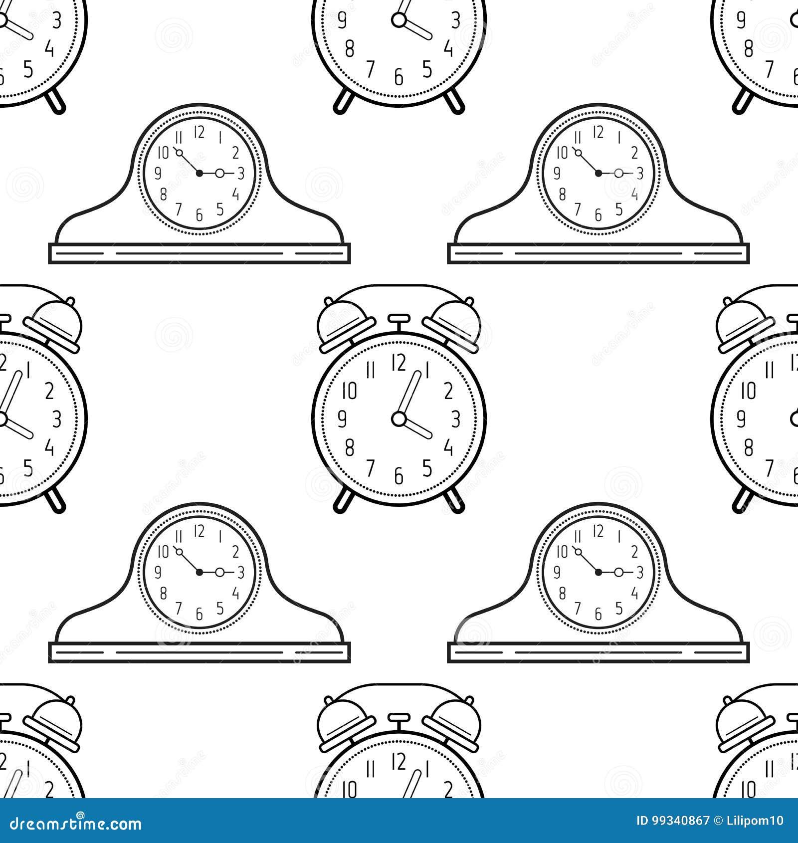 Relojes Del Despertador Y De La Chimenea Modelo Inconsútil Blanco Y