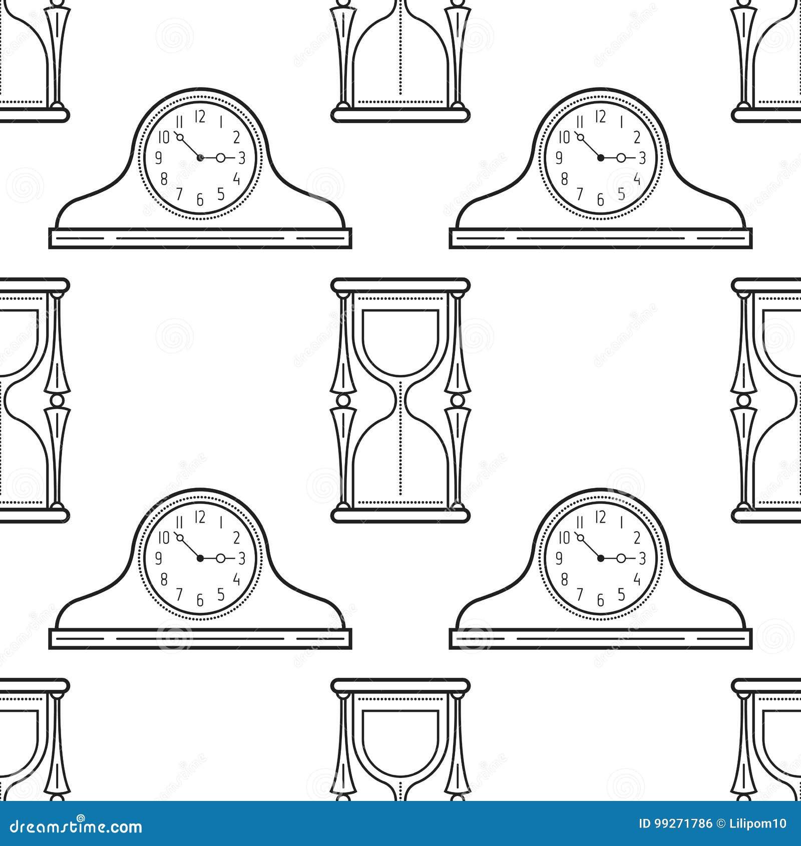 Relojes Del Reloj De Arena Y De La Chimenea Modelo Inconsútil Blanco