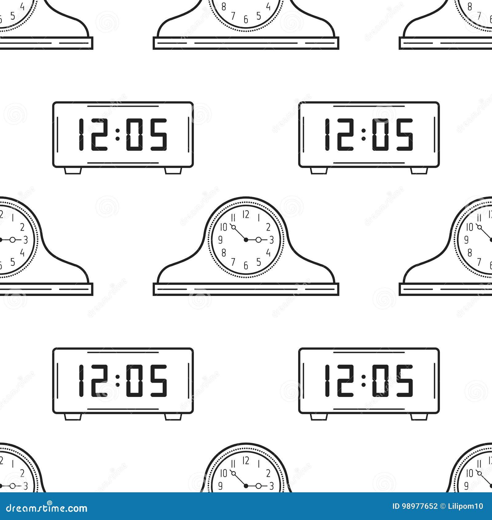 Relojes Electrónicos Del Reloj Y De La Chimenea Modelo Inconsútil