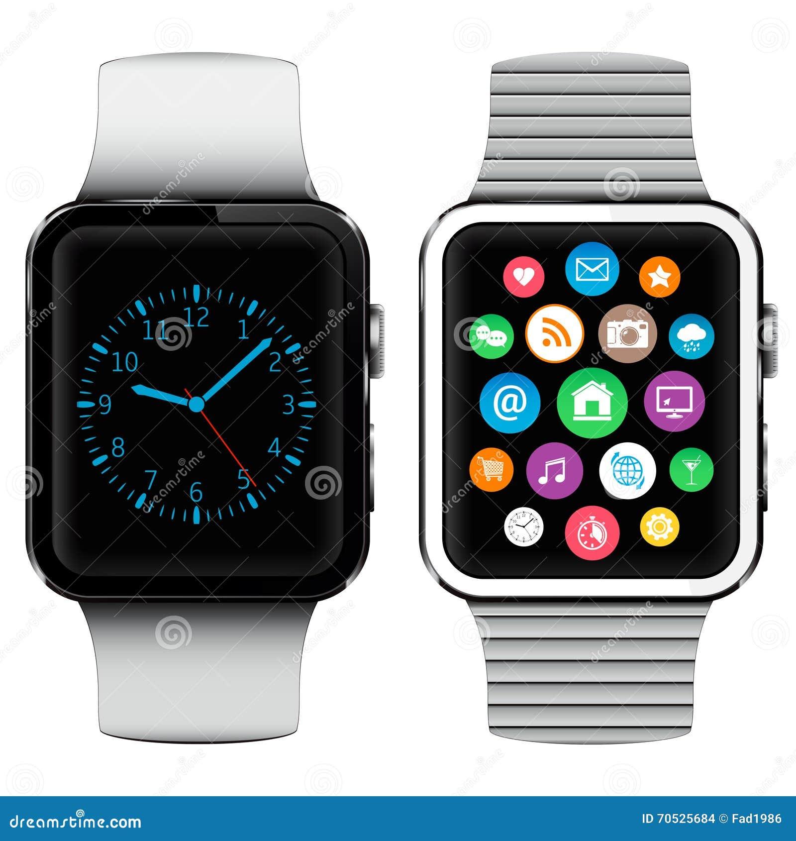 Relojes elegantes modernos con los iconos de los usos en la pantalla stock de ilustraci n - Relojes de cocina modernos ...