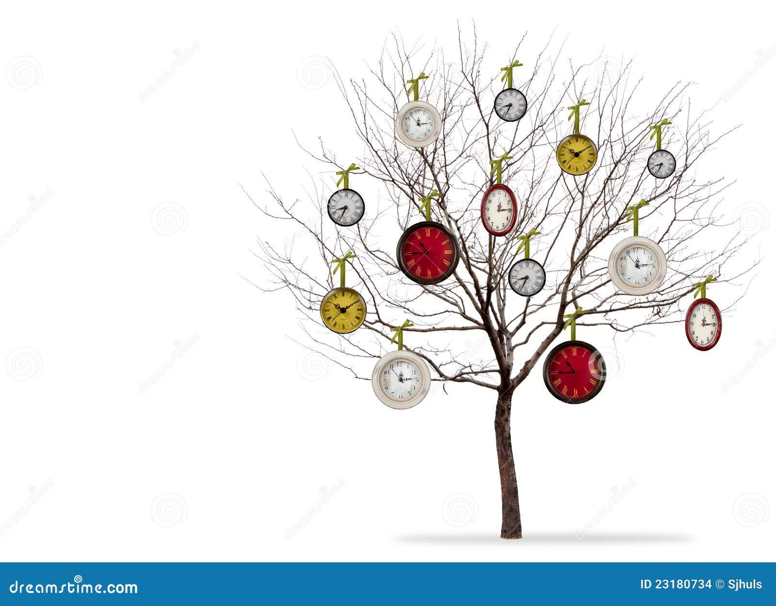 Relojes que cuelgan de un árbol en un fondo blanco