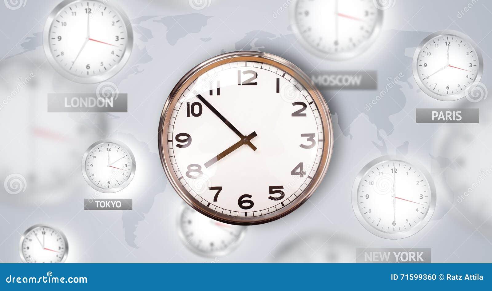 Relojes y zonas horarias sobre el concepto del mundo