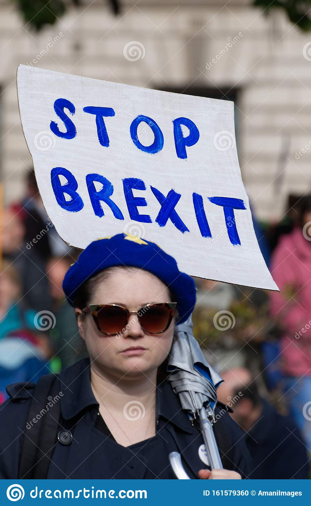 An anti Brexit demonstrator in Parliament Square, London UK on Saturday 19 October 2019
