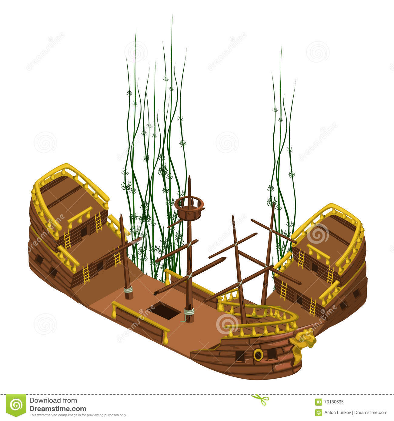 remains of pirate ship with algae vector isolated stock vector