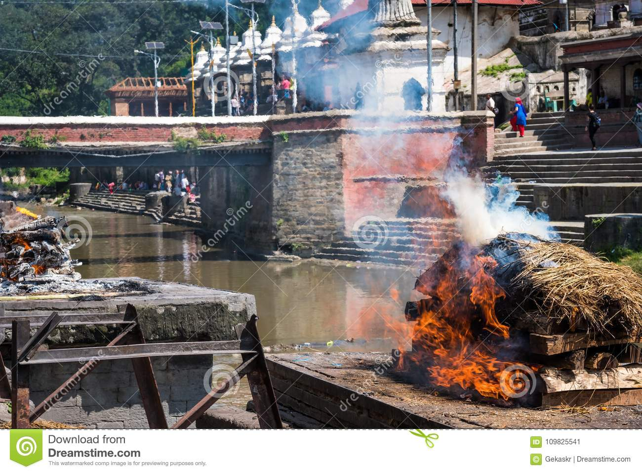 Pashupatinath temple cremations on the Bagmati River