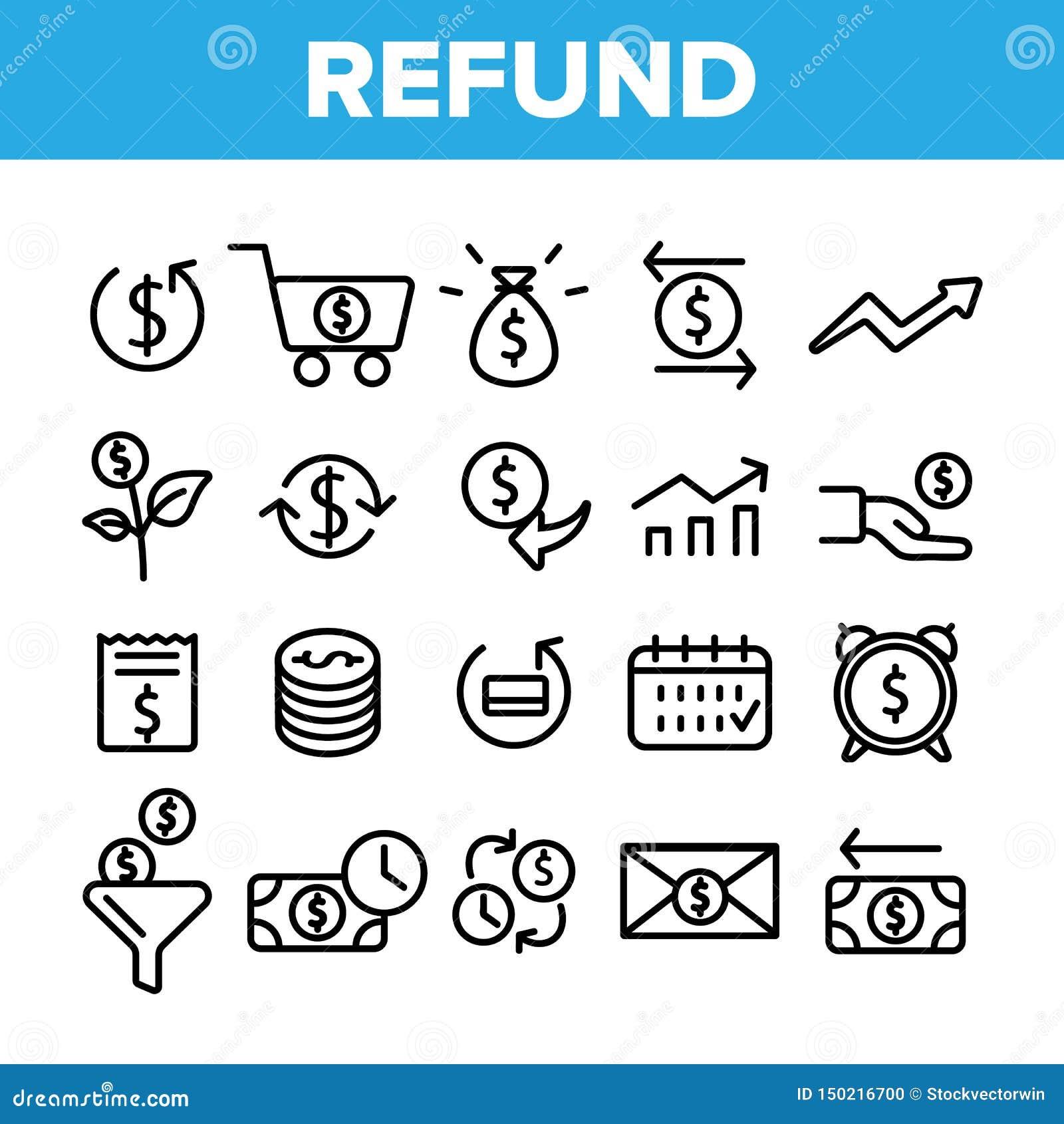 Remboursement, ensemble linéaire d icônes de vecteur de système d E-paiement